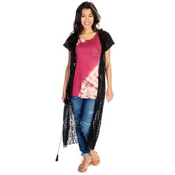 Indigo Thread Women's Knit Lace Open Front Drawstring Duster -Black/Medium
