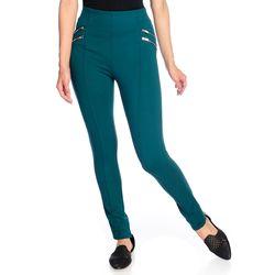 Women's High-Density Knit 4-Zipper Pull-on Leggings - Dark Teal - Size: S