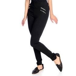 Women's High-Density Knit 4-Zipper Pull-on Leggings - Black - Size: 3X