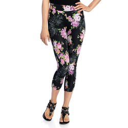 Kate & Mallory Women's Knit Pull-on Capri Leggings - Floral - Size: 2X
