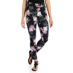 Kate & Mallory Women's Knit Pull-on Ankle-Length Leggings - Floral - Sz: L
