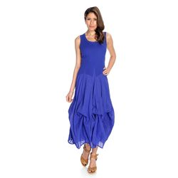 Oso Casuals Women's Sleeveless Solid Convertible Dress - Royal - Size: M