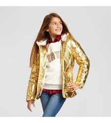 Cat & Jack Girls' Short Puffer Jacket - Gold - Size: X-Small