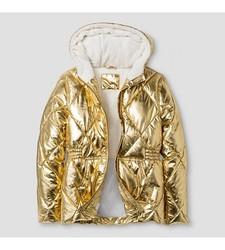 Cat & Jack Girl's Short Puffer Jacket - Gold - Size: Medium