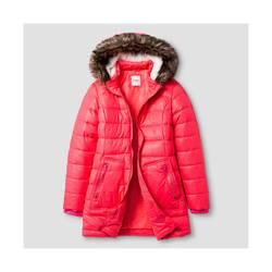 Cat & Jack Girl's Long Puffer Jacket - Pink - Size: Medium