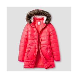 Cat & Jack Girl's Long Puffer Jacket - Pink - Size - X-Large