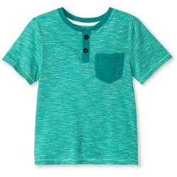 OshKosh Toddler Boys Short Sleeve Henley Shirt - Turquoise - Size: 4T