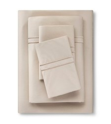 Fieldcrest Supima Percale Cotton Sheet Set - Sea Salt Tonal - Size: Full