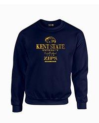 NCAA Kent State Golden Flashes Stacked Vintage Crew Neck Sweatshirt, Medium, Navy
