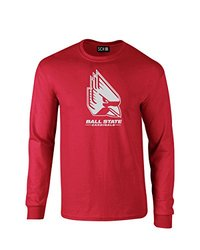 NCAA Ball State Cardinals Mascot Foil Long Sleeve T-Shirt, Small, Red