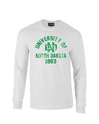 NCAA North Dakota Mascot Block Arch Long Sleeve T-Shirt, Small, White