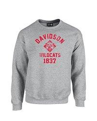 NCAA Davidson Wildcats Mascot Block Arch Crew Neck Sweatshirt, Small, Sport Grey