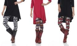 Print Leggings: Red-White