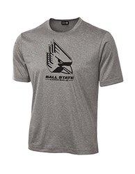 NCAA Ball State Cardinals School Standard Mascot Tech Performance T-Shirt, Small, Sport Grey