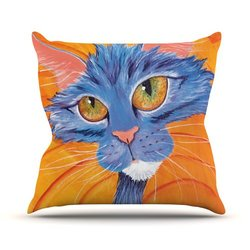 """Kess InHouse Padgett Mason """"Tell Me More"""" Outdoor Throw Pillow, 18 by 18-Inch"""