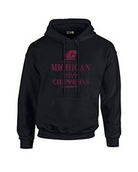 NCAA Central Michigan Chippewas Stacked Vintage Long Sleeve Hoodie, Large, Black