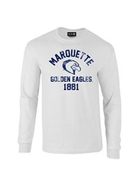 NCAA Marquette Golden Eagles Mascot Block Arch Long Sleeve T-Shirt, Large, White