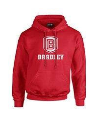 NCAA Bradley Braves Mascot Foil Long Sleeve Hoodie, Medium, Red