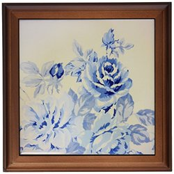 """3dRose trv_32102_1 French Blue Flowers Trivet with Ceramic Tile, 8 by 8"""", Brown"""
