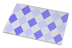 Rikki Knight RK-LGCB-278 Blue Argyle on Grey Glass Cutting Board, Large, White
