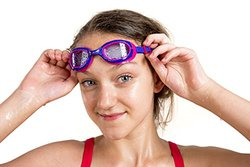 AqtivAqua Junior Swim Goggles for Kids (ages 4-12) with Anti Fog Technology and UV Protection   Comfortable and Easy to Use Swimming Goggles for Kids (HotPink/Yellow-Frame Clear-Lenses)