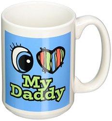 3dRose Bright Eye Heart I Love My Daddy Ceramic Mug - 15 Ounce