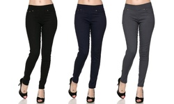 Women's 3-Pack Slimming Skinny Pants - Black/Navy/Grey - Size: S/M