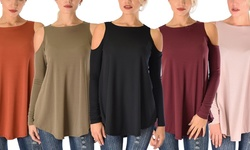 Lyss Loo Women's In Good Company Ribbed Cold Shoulder Top - Black - XL