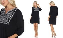 White Mark Women's Marcella Embroidered Dress - Black - Size: Large
