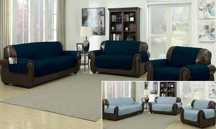 ... Reversible Ashford Water Resistant Microfiber Sofa Cover   Navy/Slate  Blue ...