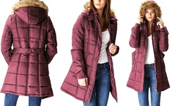 Lady Belted Puffer Jacket with Fur-Lined Hood - Burgundy -Size: Large