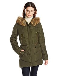 Kensie Coat: Faux Fur Collar And Quilted Sleeves/olive-l