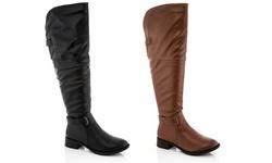 Rasolli Brenda Women's Over the Knee Riding Boot - Black - Size: 10
