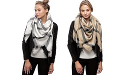 Oversized Plaid Scarf: Beige