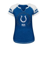 NFL Indianapolis Colts Women's Raglan Split Neck T-Shirt - Blue/White - M