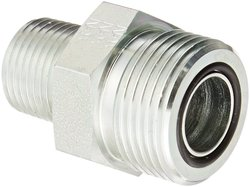 """Aeroquip 3/4"""" O-Ring Face Seal Male x 1/2"""" NPTF Male Steel Pipe Fitting"""