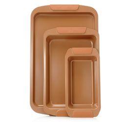 Cook's Companion 3Pcs Ceramic Bake/ Roast & Loaf Pan Set - Copper