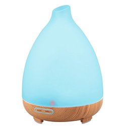 URPOWER Aromatherapy Essential Oil Diffuser Humidifier, Wood Grain and Frosted Glass Design with 7 Color Changing LED Lights and WaterLess Auto Shut off for Home Office Baby - 130ml