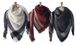 Azuri Women's Plaid Scarf Wraps with Fringe - Black/Grey - Size: One Size