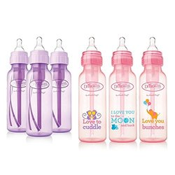 Dr Brown's Deco 8 Ounce Baby Bottle 6 Pack - Girl 3 Pack + 3 Pack