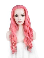 Imstyle Sweet Girl Synthetic Long Wavy Lolita Pink Mixd Blonde Two Tone Fashion Lace Front Wig