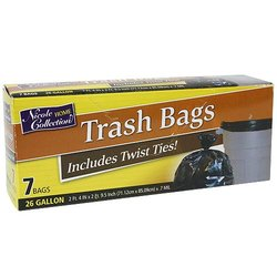 7 Count Trash Bags with Ties 26 gal - Black (01002)