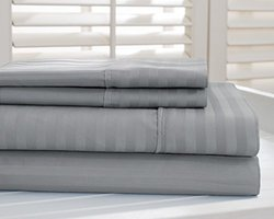 Hotel New York 800tc Dobby Stripe Sheet Sets: Platinum/king