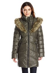 Kensie Women's Chevron Down Coat with Lined Hood - Olive - Size: M