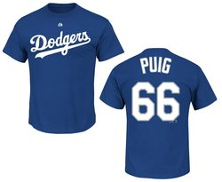 MLB Men's Y-Puig Los Angeles 66 Team T-Shirt - Deep Blue - Size: S/XL/XXL
