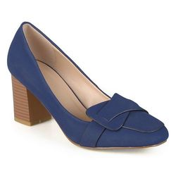 Journee Women's Vintage Mid Heel Loafer Pumps - Navy - Size: 7.5