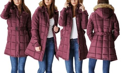 Lady Belted Women's Puffer Jacket w/ Fur-Lined Hood - Burgundy - Size: S