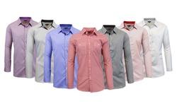 Men's Slim Fit Woven Shirts: Black/white/medium