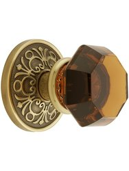 Lancaster Rosette Set With Amber Crystal Knobs - Double Dummy