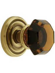 Classic Rosette Set With Amber Crystal Door Knobs Privacy - Antique Brass